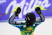 2nd February 2019, Maribor, Slovenia;  Anna Swenn Larsson of Sweden celebrating her second place at the Audi FIS Alpine Ski World Cup Women's Slalom Golden Fox on February 2, 2019 in Maribor, Slovenia