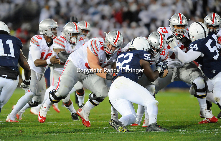 22 October 2016:  Ohio State G Billy Price (54) run blocks. The Penn State Nittany Lions upset the #2 ranked Ohio State Buckeyes 24-21 at Beaver Stadium in State College, PA. (Photo by Randy Litzinger/Icon Sportswire)