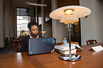 First year law student Giselle Rasberry studies in the Khayat Law Center library.  Photo by Kevin Bain/University Communications Photography