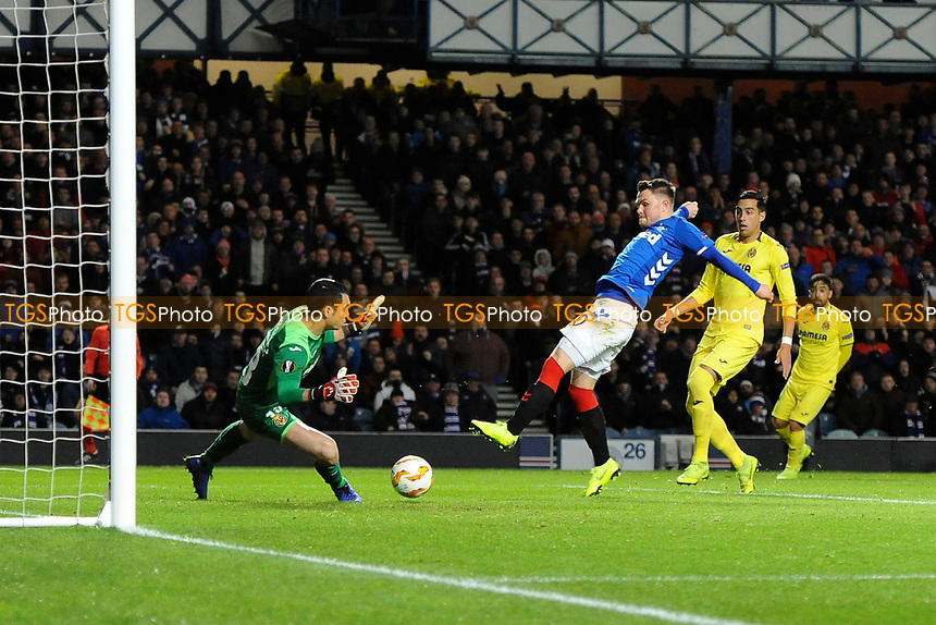 Glenn Middleton of Rangers pokes the ball past Andres Fernandez of Villarreal CF but it was ruled offside during Rangers vs Villarreal CF, UEFA Europa League Football at Ibrox Stadium on 29th November 2018