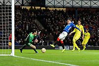 Glenn Middleton of Rangers pokes the ball past Andres Fernandez of Villarreal CF but it was ruled offside during Rangers vs Villarreal CF, UEFA Europa League Football at Ibrox Stadium on 29th November 2018