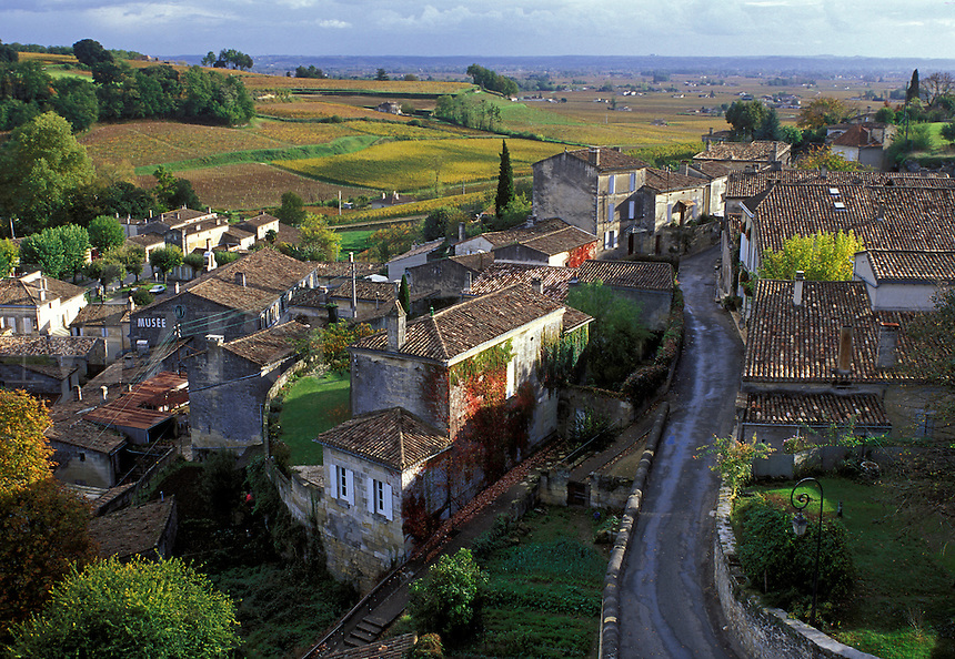 Saint Emilion, France, Bordeaux Wine Region, Aquitaine, Gironde, Europe, The medieval village of St. Emilion and Saint Emilion Vineyards in the fall.