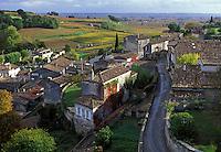 Saint Emilion, France, Bordeaux Wine Region, Aquitaine, Gironde, Europe, The medieval village of St. Emilion and Saint Emilion Vineyards in the fall.