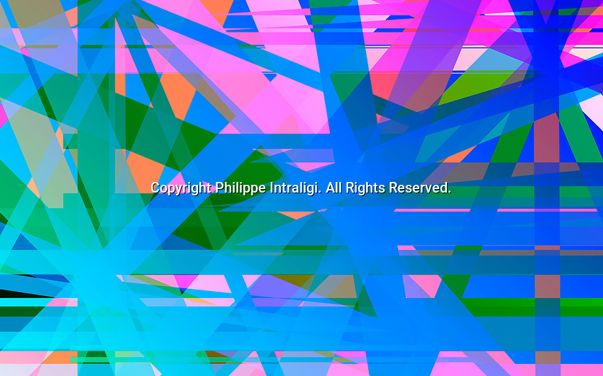 Complex crisscrossing brightly lit striped abstract pattern