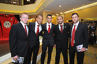 From left to right DC United midfielder Dax McCarty, forward Charlie Davies, midfielder Junior Carreiro,midfielder Fred and midfielder Kurt Morsink, at the 2011 Season Kick off Luncheon, at the Marriott Hotel in Washington DC, Wednesday March 16 2011.
