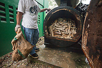 Confiscated ivory from the Philippines stockpile since 2009 is seen prior to incineration at the Philippines Government Bureau of Animal Industry, Quezon City, Manila, Philippines, 21 June 2013.