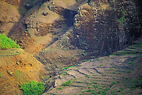 A valley along the Na Pali coastline with remnants of terracing from a former community