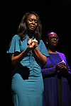 """Immaculee Ilibagiza and Valentine Rugwabiza, Rwanda Ambassador to the UN on stage during """"Miracle in Rwanda"""" honoring International Day of Reflection on the 1994 Genocide against the Tutsi in Rwanda at the Lion Theatre on Theater Row on April 7, 2019 in New York City."""