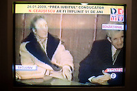 ROMANIA / Bucharest / 26.01.09..A television screen shot of the military trial of Romanian Communist dictator Nicolae Ceausescu and his wife Elena which occurred on Christmas day 1989 during the Romanian Revolution. Romanian television replayed the trial and a documentary about his rule of Romania on the occasion of his birthday, 26 January. Ceausescu would have been 91 years-old in 2009, but he and his wife were executed directly following the trial by firing squad. Romania experienced the most oppressive of the former Eastern Bloc's Communist regimes and by the late 1980s shops were empty of food, the imfamous secret police called the Securitate had created a police state and Ceausescu had launched grandisose Communist building projects modeled after North Korea that involved leveling one fifth of historic Bucharest...© Davin Ellicson / Anzenberger