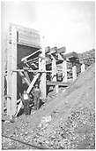 Close-up view of RGS's Burnett and Clifton 2-pocket Coal Chute at Ute Junction.<br /> RGS  Ute Junction, CO