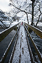 30/01/15<br /> <br /> Freya Kirkpatrick (7) crosses the bridge at Dovedale after heavy overnight snowfall in the Derbyshire Peak District.<br /> <br /> All Rights Reserved - F Stop Press.  www.fstoppress.com. Tel: +44 (0)1335 418629 +44(0)7765 242650