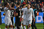 17.03.2019, BayArena, Leverkusen, GER, DFL, 1. BL, Bayer 04 Leverkusen vs SV Werder Bremen, DFL regulations prohibit any use of photographs as image sequences and/or quasi-video<br /> <br /> im Bild Schlussjubel / Schlußjubel / Emotion / Freude / der Mannschaft von Werder Bremen<br /> <br /> Foto © nph/Mauelshagen