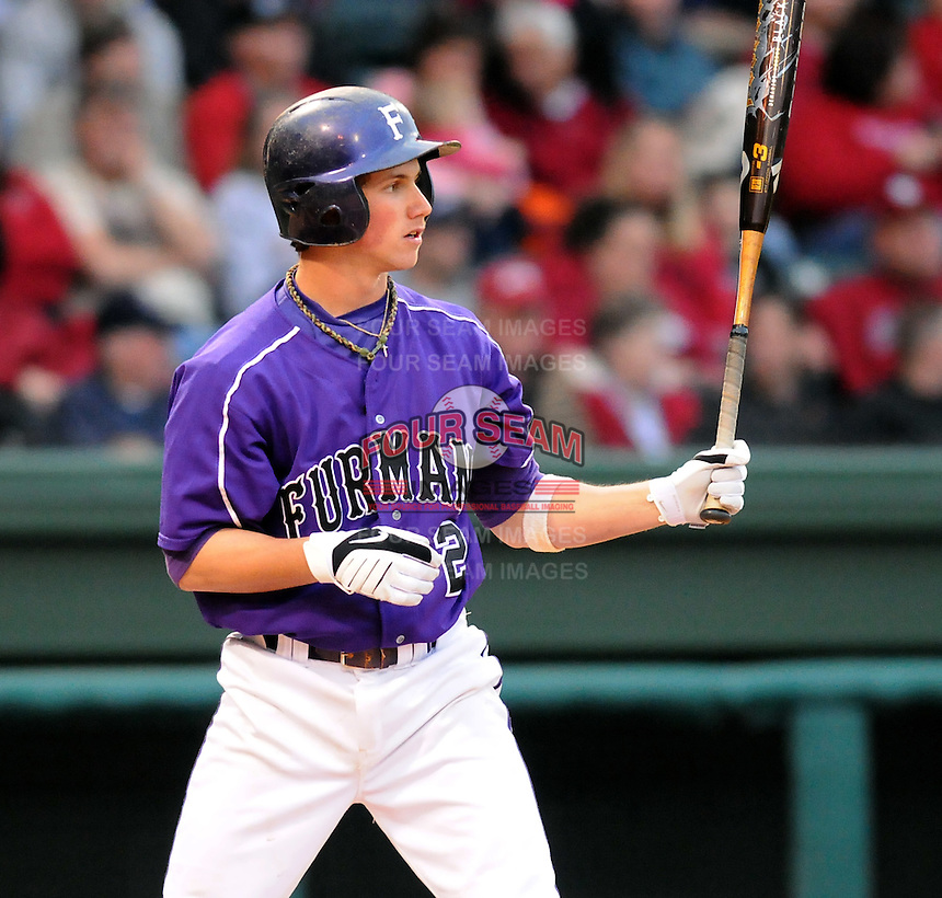 Furman freshman second baseman Will Muzika (2) in a game between the Furman Paladins and South Carolina Gamecocks Saturday, March 16, 2010, at Fluor Field at the West End in Greenville, S.C. Muzika is a graduate of Dorman High School in Spartanburg, S.C. Photo by: Tom Priddy/Four Seam Images