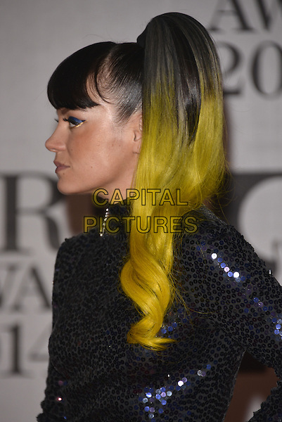 LONDON, ENGLAND - FEBRUARY 19: Lily Allen attends The BRIT Awards 2014 at 02 Arena on February 19, 2014 in London, England.<br /> CAP/PL<br /> &copy;Phil Loftus/Capital Pictures