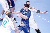 Australia's Caleb Gahan (c) and Hungary's Milorad Krivokapic (l) and Szabolcs Szollosi during 23rd Men's Handball World Championship preliminary round match.January 14,2013. (ALTERPHOTOS/Acero) /NortePhoto