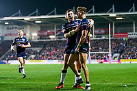 Picture by Alex Whitehead/SWpix.com - 16/03/2018 - Rugby League - Betfred Super League - St Helens v Leeds Rhinos - Totally Wicked Stadium, St Helens, England - Leeds' Ash Handley (R) celebrates his try with Cameron Smith.