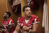 Hawgs Illustrated /BEN GOFF @NWABENGOFF<br /> C.J. O'Grady, sophomore tight end from Fayetteville, talks to the press in the locker room Saturday, Aug. 5, 2017, during Arkansas football media day at the Fred W. Smith Football Center in Fayetteville.