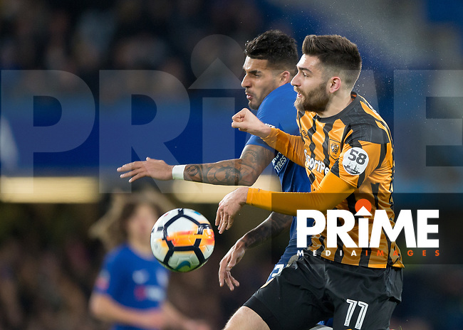 Emerson of Chelsea and Jon Toral of Hull City in action during the FA Cup 5th round match between Chelsea and Hull City at Stamford Bridge, London, England on 16 February 2018. Photo by Vince  Mignott / PRiME Media Images.