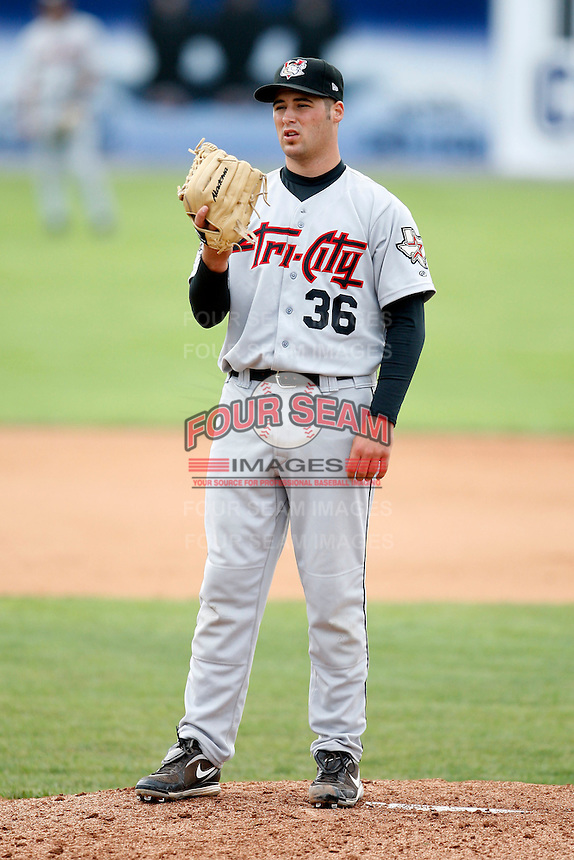 July 18, 2009:  Catcher Colton Pitkin of the Tri-City ValleyCats during a game at Dwyer Stadium in Batavia, NY.  The ValleyCats are the Short-Season Class-A affiliate of the Houston Astros.  Photo By Mike Janes/Four Seam Images