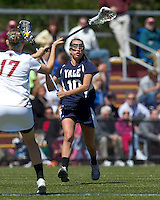 Yale University midfielder Cathryn Avallone (10). Boston College defeated Yale University, 16-5, at Newton Campus Field, April 28, 2012.