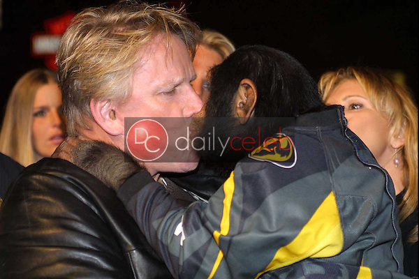 Gary Busey and Cody (the chimp)