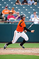 Bowie Baysox second baseman Jeff Kemp (4) at bat during the first game of a doubleheader against the Akron RubberDucks on June 5, 2016 at Prince George's Stadium in Bowie, Maryland.  Bowie defeated Akron 6-0.  (Mike Janes/Four Seam Images)