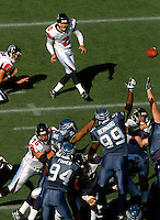 Sep 18, 2005; Seattle, WA, USA; Atlanta Falcons kicker Todd Peterson #2 kicks a field goal late in the third quarter against the Seattle Seahawks at Qwest Field. Mandatory Credit: Photo By Mark J. Rebilas