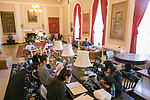 Students study for finals in the Thomas History Reading Room in Lilly Library. The library was completed in 1927 and its most distinguishing feature, the Thomas Room, is devoted to displaying Asian works of art donated by the family and friends of James A. Thomas, a personal friend and business partner of the Duke Family, as well as a Duke trustee. The room was established in 1940 after his death, and the room's furnishings and collection of East Asian books are maintained by the Thomas family.