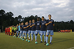 CARY, NC - SEPTEMBER 29: UNC's Jeremy Kelly (29) and his teammates during the national anthem. The University of North Carolina Tar Heels hosted the North Carolina State University Wolfpack on September 29, 2017 at Koka Booth Field at WakeMed Soccer Park in Cary, NC in a Division I college soccer game.