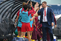 26 November 2017, Melbourne - SIGURDUR EYJOLFSSON coach of China PR celebrates a goal by REN GUIXIN during an international friendly match between the Australian Matildas and China PR at GMHBA Stadium in Geelong, Australia.. Australia won 5-1. Photo Sydney Low