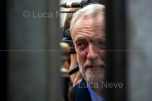 London, 12/09/2015. Jeremy Corbyn, newly elected Leader of the British Labour Party, arrives at &quot;Solidarity with Refugees&quot; Rally in London's Parliament Square (for more photos of the event please click here: http://bit.ly/1ino5yw).<br />