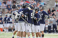 College Park, MD - February 25, 2017: Yale Bulldogs celebrates after a goal during game between Yale and Maryland at  Capital One Field at Maryland Stadium in College Park, MD.  (Photo by Elliott Brown/Media Images International)