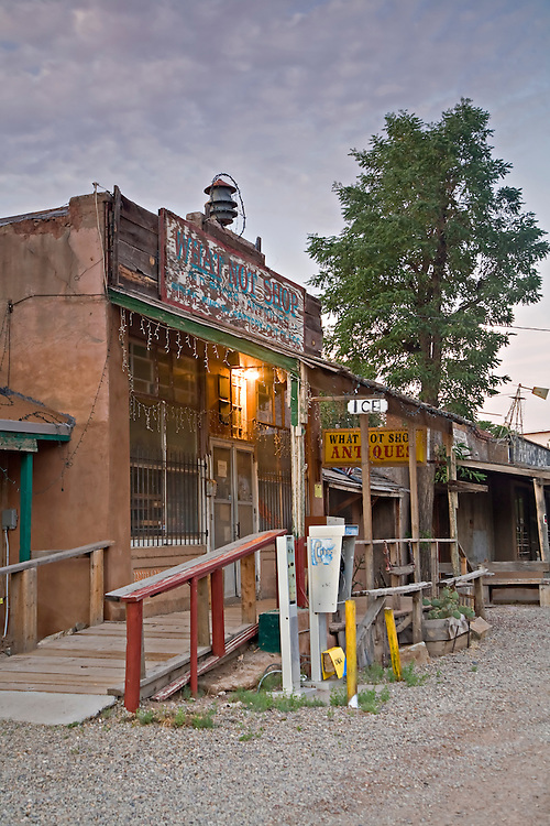 Exterior view of the What Not Shop in Los Cerrillos, New Mexico