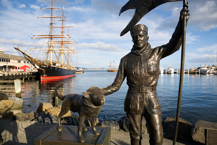 Statue commemorating Louis Charles Bernacchi and his expeditions to Antarctica, at Sullivan's Cove.  Hobart, Tasmania, AUSTRALIA