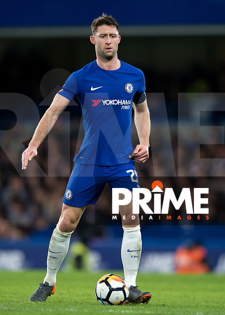 Gary Cahill of Chelsea during the FA Cup 5th round match between Chelsea and Hull City at Stamford Bridge, London, England on 16 February 2018. Photo by Vince  Mignott / PRiME Media Images.