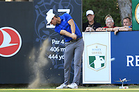 Lucas Bjerregaad (DEN) tees off the 18th tee during Sunday's Final Round of the 2018 Turkish Airlines Open hosted by Regnum Carya Golf &amp; Spa Resort, Antalya, Turkey. 4th November 2018.<br /> Picture: Eoin Clarke | Golffile<br /> <br /> <br /> All photos usage must carry mandatory copyright credit (&copy; Golffile | Eoin Clarke)