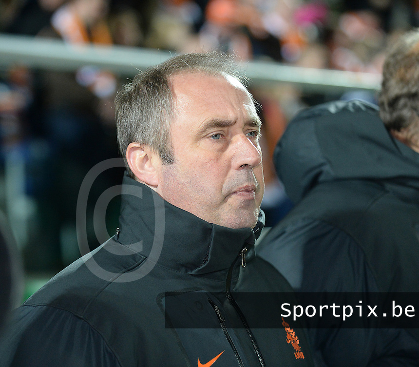 20140212 - ZWOLLE , THE NETHERLANDS : Dutch coach Roger Reijners pictured during the female soccer match between The Netherlands and Belgium , on the fifth matchday in group 5 of the UEFA qualifying round to the FIFA Women World Cup in Canada 2015 at Het Ijseldelta Stadion , Zwolle . Wednesday 12th February 2014 . PHOTO DAVID CATRY