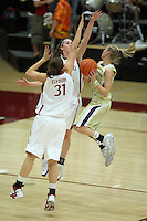 30 December 2007: Morgan Clyburn and Hannah Donaghe during Stanford's 77-42 win over the University of Washington at Maples Pavilion in Stanford, CA.