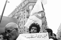 A young man protests in Talaat Harb Square on April 20th, when supporters of a variety of political groups, including Islamist, liberal and leftist forces, entered Tahrir Square to demonstrate against continuing military rule. April 20th, 2012. Cairo, Egypt.