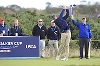Stewart Hagestad (USA) on the 4th tee during the Foursomes at the Walker Cup, Royal Liverpool Golf CLub, Hoylake, Cheshire, England. 07/09/2019.<br /> Picture Thos Caffrey / Golffile.ie<br /> <br /> All photo usage must carry mandatory copyright credit (© Golffile | Thos Caffrey)