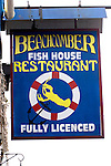 Exterior, Sign, Beachcomers Restaurant, East London, London, Great Britain, Europe
