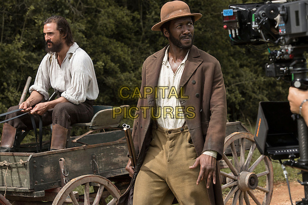 Free State of Jones (2016)<br /> While driving the horse wagon down a country road, Newt (Matthew McConaughey) tries to stop Moses (Mahershala Ali)<br /> *Filmstill - Editorial Use Only*<br /> CAP/KFS<br /> Image supplied by Capital Pictures
