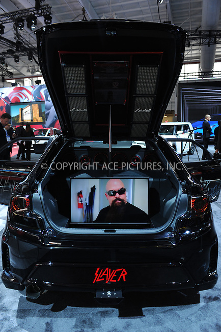WWW.ACEPIXS.COM<br /> April 1, 2015 New York City<br /> <br /> Scion Slayer car at the New York International Auto Show at the Jacob K. Javits Convention Center on  April 1, 2015 in New York City.<br /> <br /> Please byline: Kristin Callahan/AcePictures<br /> <br /> ACEPIXS.COM<br /> <br /> Tel: (646) 769 0430<br /> e-mail: info@acepixs.com<br /> web: http://www.acepixs.com