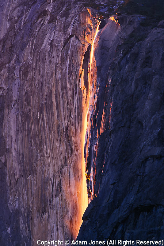 Horsetail Falls at sunset, Yosemite National Park, CA