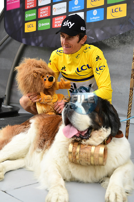 Race leader Geraint Thomas (WAL) Team Sky retains Yellow Jersey at the end of Stage 6 of the 2018 Criterium du Dauphine 2018 running 110km from Frontenex to La Rosiere, France. 9th June 2018.<br /> Picture: ASO/Alex Broadway | Cyclefile<br /> <br /> <br /> All photos usage must carry mandatory copyright credit (© Cyclefile | ASO/Alex Broadway)