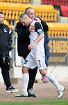 St Johnstone v Inverness Caley Thistle...02.05.15   SPFL<br /> Yogi Hughes gives David Raven a pat on the back as he is sent off<br /> Picture by Graeme Hart.<br /> Copyright Perthshire Picture Agency<br /> Tel: 01738 623350  Mobile: 07990 594431