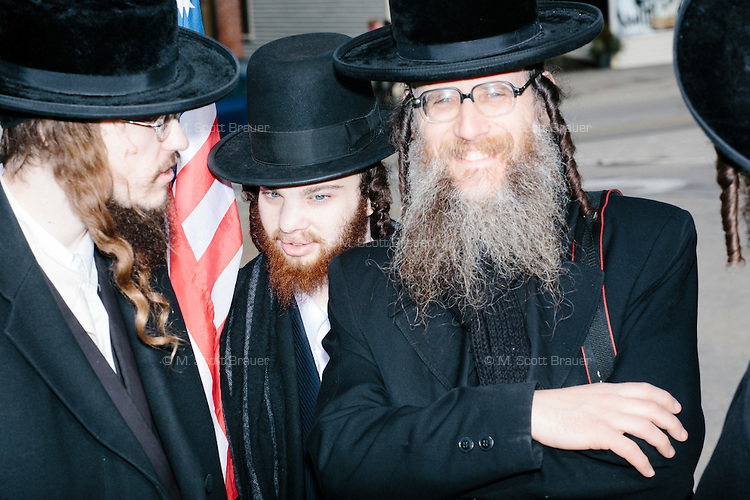 Members of Neturei Karta International gather outside after real estate mogul and Republican presidential candidate Donald Trump spoke at a rally at Exeter Town Hall in Exeter, New Hampshire, on Thurs., Feb. 4, 2016. The group is an international organization of Orthodox Jews united against Zionism.