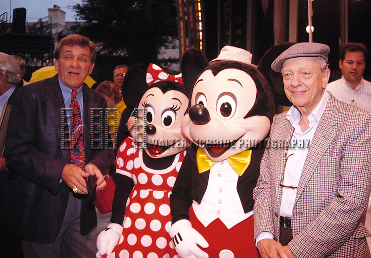 George Lindsey and Don Knotts with Mickey & Minnie Mouse attending an ANDY GRIFFITH SHOW Reunion at the Disney MGM Studios, Walt Disney World Theme Park in Orlando, Florida. August 11, 1992