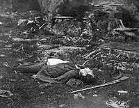 A Sharpshooter's last sleep.  Gettysbury, July 1863.  Alexander Gardner. (War Dept.)<br /> Exact Date Shot Unknown<br /> NARA FILE #: 165-SB-40<br /> WAR & CONFLICT BOOK #:  255