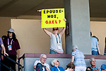 March 11, 2018: A fan holds a sign as Gael Monfils (FRA) defeated John Isner (USA) 6-7, 7-6, 7-5 at the BNP Paribas Open played at the Indian Wells Tennis Garden in Indian Wells, California. ©Mal Taam/TennisClix/CSM